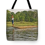 Dugout Canoe In The Rapti River In Chitin National Park-nepal Tote Bag