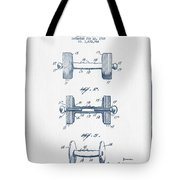 Dumbbell Patent Drawing From 1935  -  Blue Ink Tote Bag