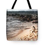 Duotone Beach Scene Tote Bag