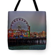 Dusk At The Santa Monica Pier Tote Bag