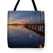 Dusk Settles On Del Norte Pier Tote Bag