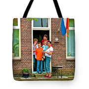 Dutch Family On Orange Day In Enkhuizen-netherlands Tote Bag