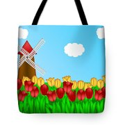 Dutch Windmill In Tulips Field Farm Illustration Tote Bag