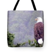 Eagle Looking For Breakfast On A Misty Morning Tote Bag