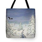 Eagle On Winter Lanscape Tote Bag