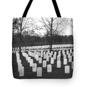 Eagle Point National Cemetery In Black And White Tote Bag by Mick Anderson
