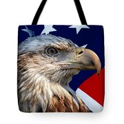 Eagle With Us American Flag Tote Bag