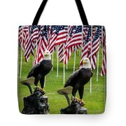 Eagles And Flags On Memorial Day Tote Bag