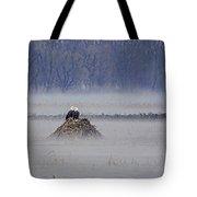 Eagles On Foggy Morning Tote Bag