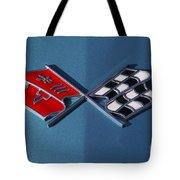 Early C3 Corvette Emblem Blue Tote Bag
