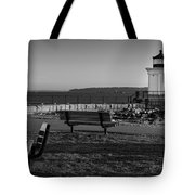 Early Morning At Bug Lighthouse Bw Tote Bag