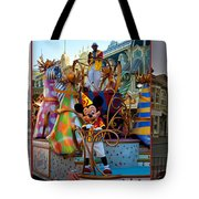 Early Morning Main Street With Mickey Walt Disney World 3 Panel Composite Tote Bag