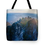 Early Morning Mist At The Bastei In The Saxon Switzerland Tote Bag