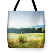 Early Morning Mist In The Valleys And Farmlands Of The Blue Ridge Mountains Tote Bag