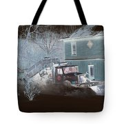 Early Morning Snow Plow Tote Bag