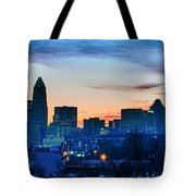Early Morning Sunrise Over Charlotte City Skyline Downtown Tote Bag