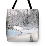 Early Morning Winter Road Tote Bag