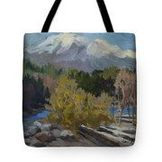 Early Snow Cascade Mountains Tote Bag