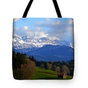 Early Snow In The Swiss Mountains Tote Bag