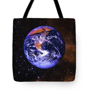 Earth In Space With Gaseous Nebula And Tote Bag