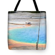 Earth Rainbow - Overhead View Of Grand Prismatic Spring In Yellowstone National Park.  Tote Bag