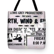 Earth Wind Fire San Diego Sports Arena Ticket September 24 1976 Tote Bag
