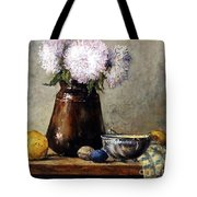Earthen Pot With Chrysanthemums Tote Bag