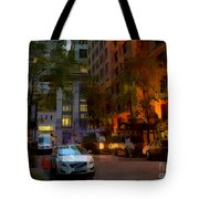 East 44th Street - Rhapsody In Blue And Orange - Close View Tote Bag