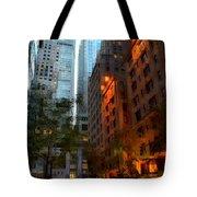 East 44th Street - Rhapsody In Blue And Orange Tote Bag