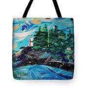 Campobello Lighthouse Abstract Tote Bag