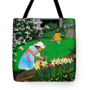 Easter At Grandma's Tote Bag by Edward Fuller