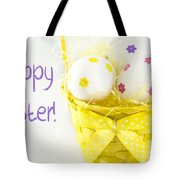 Easter Eggs In Basket Tote Bag