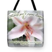 Easter Greeting Card - White Lily With Quote Tote Bag