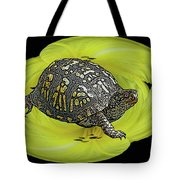 Eastern Box Turtle On Yellow Lily Tote Bag