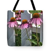 Echinacea And A White Picket Fence Tote Bag