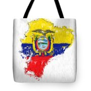 Ecuador Painted Flag Map Tote Bag