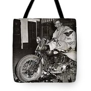 Eddie Davenport Of Tulare California On A Motorcycle Hollister  July 7 1947 Tote Bag