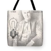 Edison And Electric Lamp Patent Tote Bag
