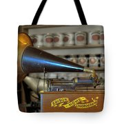 Edison Home Phonograph With Morning Glory Horn Tote Bag