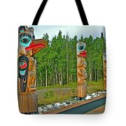 Edward Smarch Totem Poles At Teslin Tlingit Heritage Memorial Center In Teslin-yt Tote Bag