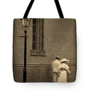 Edwardian Couple Walking On A Cobbled Street Tote Bag
