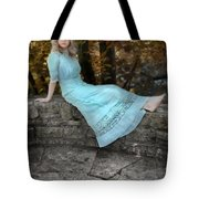 Edwardian Girl On A Stone Wall Tote Bag