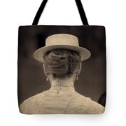 Edwardian Woman With Straw Boater Rear View Tote Bag