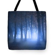 Eerie Woodland Scene At Nigh Time In Fog Tote Bag