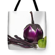 Eggplant Tomatillos And Beans Tote Bag