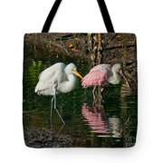 Egret And Pink Spoonbill Tote Bag