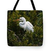 Egret In Bushes Tote Bag