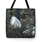 Egret In Full Display Lake Martin Louisiana Tote Bag
