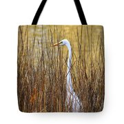Egret In The Grass Tote Bag
