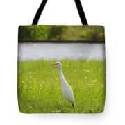 Egret On The Green-no2 Tote Bag